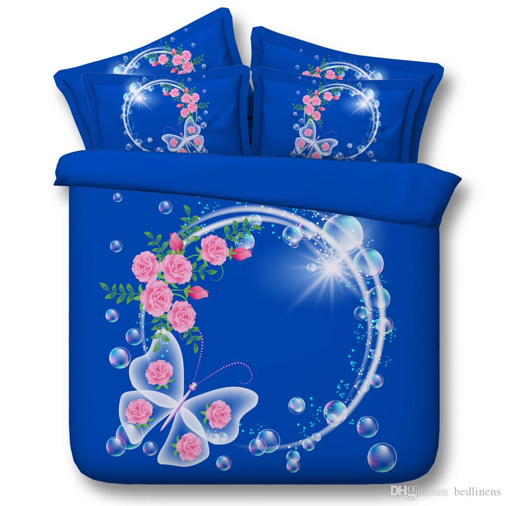 Nice Blue Butterfly Galaxy 3D Printed Bedding Sets Fabric CottonTwin Full Queen King Size Dovet Covers Pillow Shams Comforter Animal Bubble