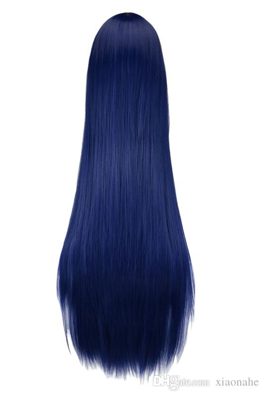 Long Straight Cosplay Wig Black Purple Black Red Pink Blue Dark Brown 100 Cm Synthetic Hair Wigs