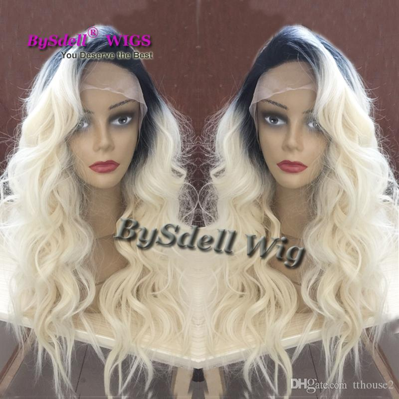 Celebrity Style Synthetic Wigs Loose Body Wave Hair Wig Black Ombre Blonde  Color With Side Bangs Pelucas Black Women Full Lace Front Wigs Lace Wig  Glue Wigs ... e760ae3c0