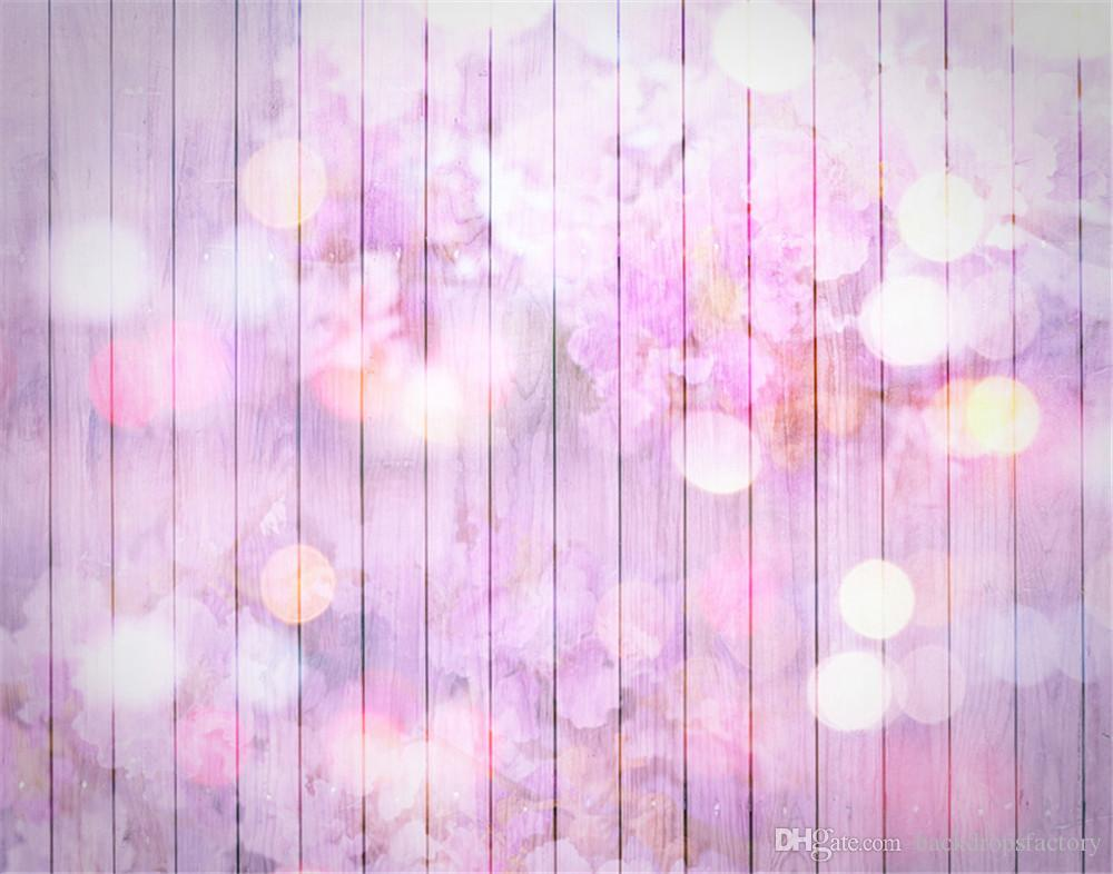 2018 Pastel Purple Baby Newborn Photography Backdrops Printed Flowers Children Kids Studio Photo Backgrounds Wooden Board Polka Dots Wallpaper From