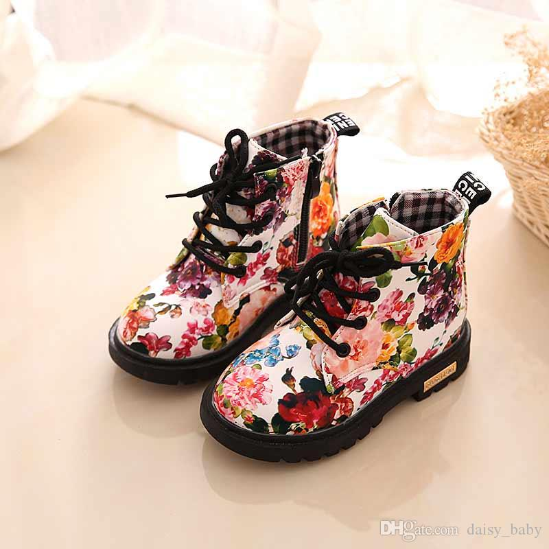 Spring Autumn Children Fashion Boots PU Leather Cute Baby Boot Floral Print Shoes Kids Martin Boots #14