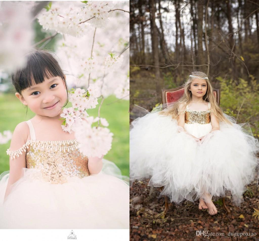 2017 Vintage Gold Sequins Princess Flower Girls Dress Puffy Girl Pageant Gowns Toddler Formal Wear Little Kids Wedding Party Communion Dress
