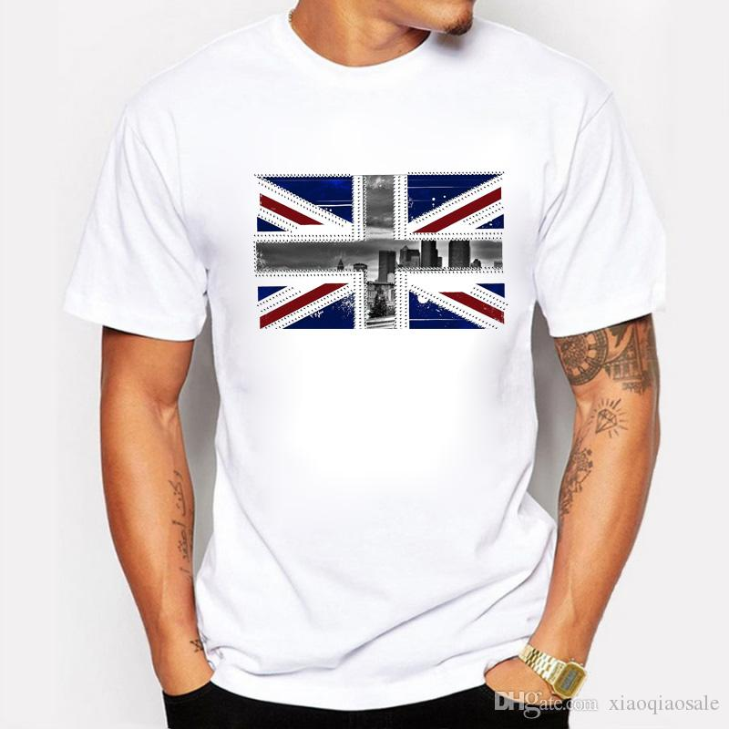 New Arrivals Stamp Design T Shirt English Flag City