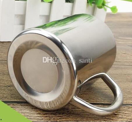 HOT 200ML Double-layer Stainless Steel Coffee Cups Portable Eco-friendly Non-toxic Tea Drinking Mug for Home Restaurant Cafe