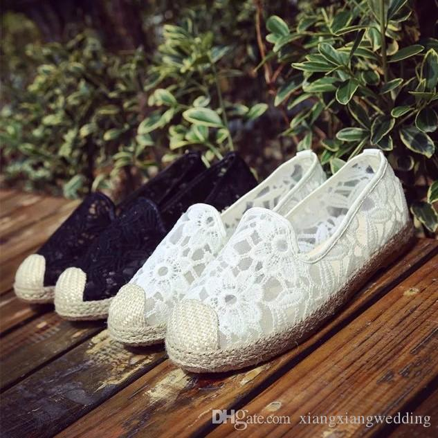 4b82427bae5 Casual Wedding Shoes Crochet Loafer Mesh Lace Floral Pattern Platform Hippie  Wedges Comfortable Going Out Shoes Bridal Shoes Low Heel Ivory Bridal Shoes  ...