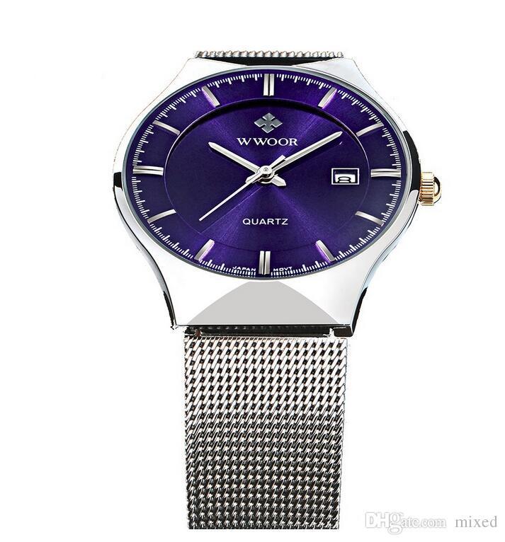 WWOOR 8016 мужские часы Кварцевые часы водонепроницаемые мужские часы оптом простой календарь