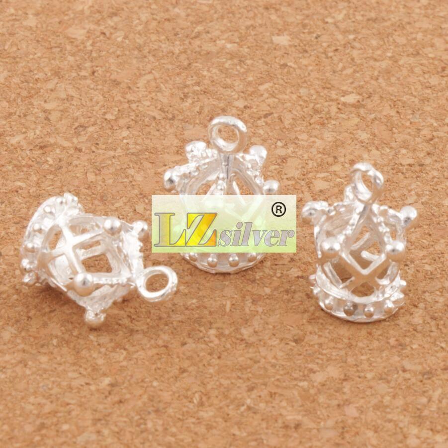 Silverpläterad ihålig 3d Imperial Crown Charms / 13x17mm Hängsmycken Smycken Resultat Komponenter Smycken DIY L392