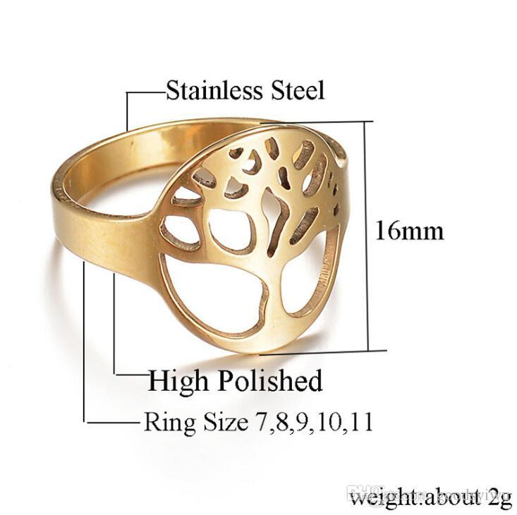 Fashion 316L Stainless Steel Ring Wisdom Tree of Life Hollow Ring Weeding Band For Women Gift