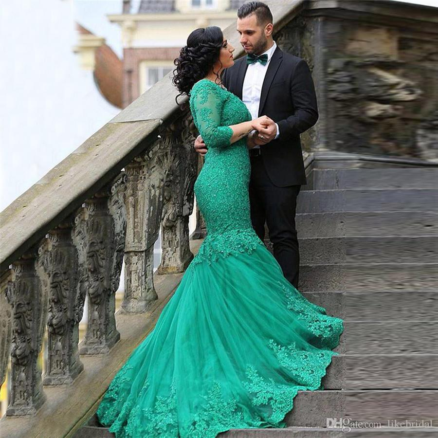 New Arrival Mermaid Prom Dress V Neck Green Long Prom Gown with 3/4 Sleeves Lace Prom Dresses Plus Size Arabic Formal Party Dresses