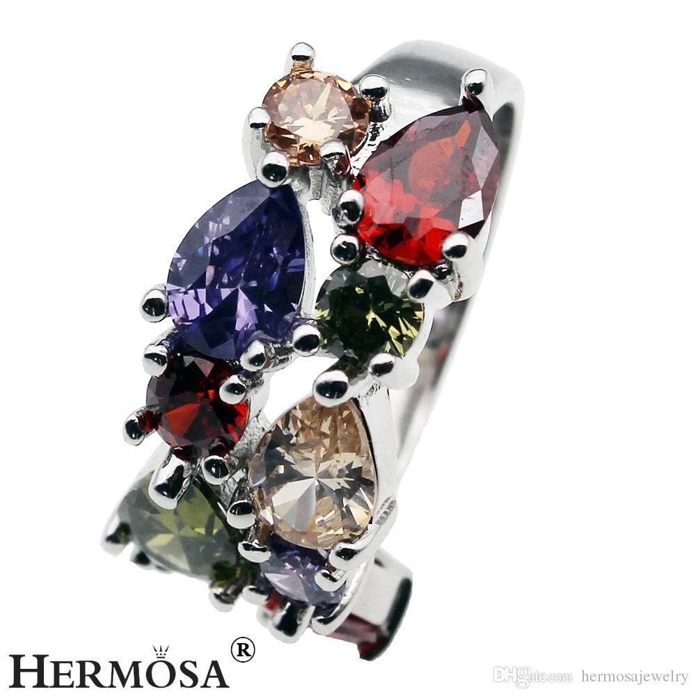 925 Sterling Silver Wedding Ring Natural Gemstone Garnet Amethyst Peridot Morganite Rhinestone Bling Women Jewelry Gift Ring Size 8