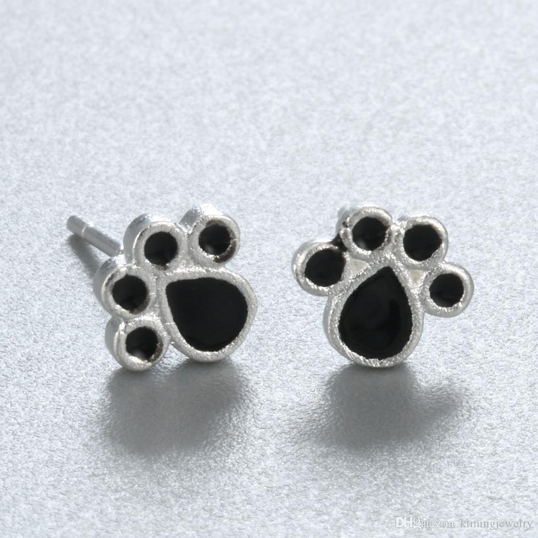 Real Pure 925 Sterling Silver Jewelry Black Enamel Forever Lovely Puppy Dog Paw Stud Earrings pendientes de plata