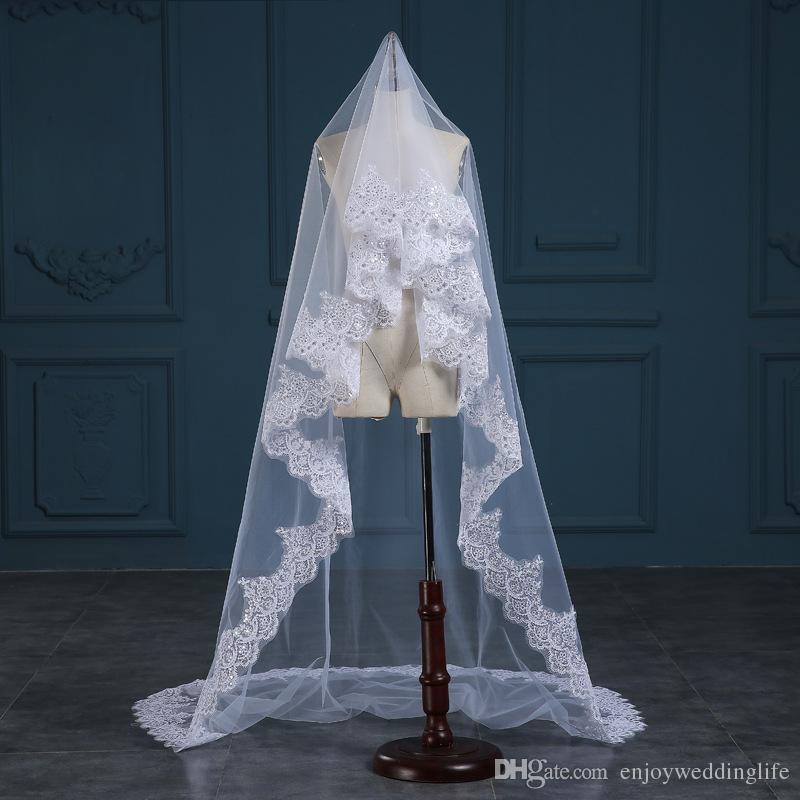 3 metros de longitud catedral nupcial velos apliques de encaje de marfil blanco borde largo velos de boda accesorios nupciales baratos 3 metros de largo CPA888