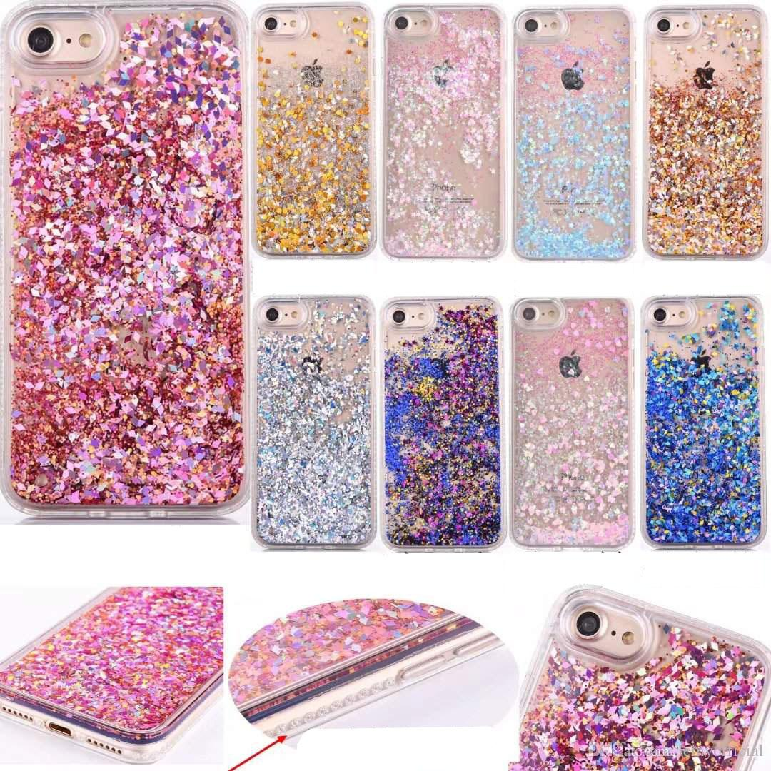 c7c23da3f906 Quicksand Bling Star Back Cover For iPhone 7 Plus 6 6S Heart Sparkle Bling  Diamond Powder Liquid Glitter Hard Plastic+TPU Floating Case Skin