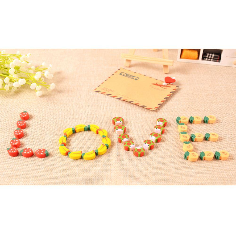 Mini Colorful Fruit Numbers Eraser with Clear Storage Bottle Cartoon Rubber Pencil Erasers Toy Gift For Kids Children