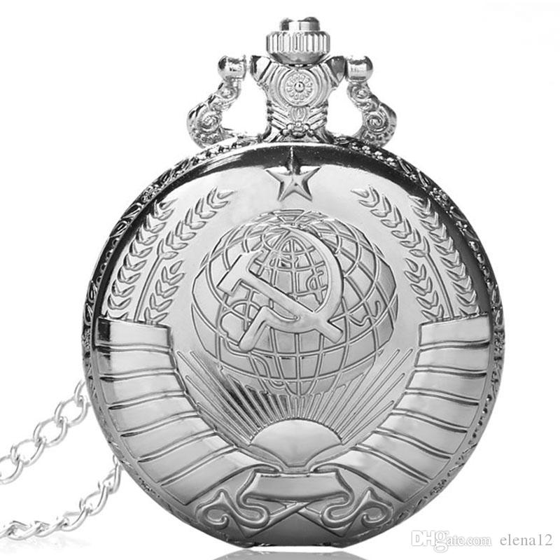 RUSSIA MOSCOW Soviet Souvenir Men pocket watch quartz steampunk with chain open faced Cover Army Style Pendant Gift BY DHL