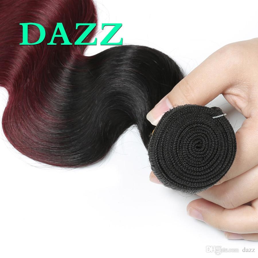 Ombre 1B 99J Brasilianische Körperwelle Reine Haar 4 Bundles Angebote Wefts Weave Bundles 2 Tone Gebleichte Rote Farbe Remy Menschenhaarverlängerungen