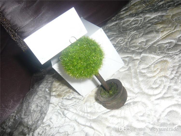 Hochzeitsbevorzugungs-Topiary-Baum-Foto und Platzkartenhalter-Hochzeitstafel-Dekoration
