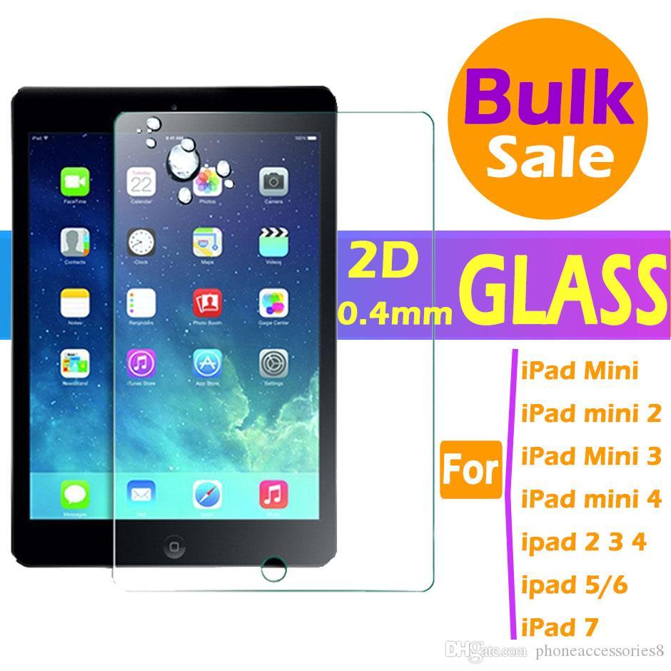 iPad 미니 2 3 4 5, ipad 2 3 4 5 6 7 프로에 대 한 2D 스트레이트 0.4 mm 강화 유리 화면 보호기