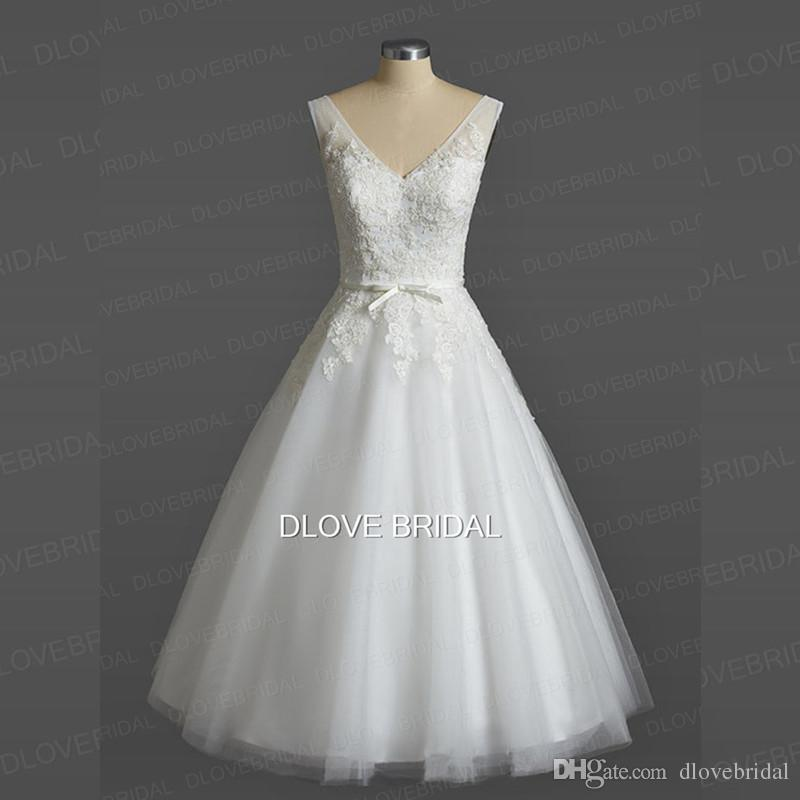 9b83ff90334 Discount Vintage Outdoor Tea Length Wedding Dress Short A Line V Neck Lace Appliqued  Tulle Bridal Dresses With Bow Vestido De Novia Real Photo Dresses T ...