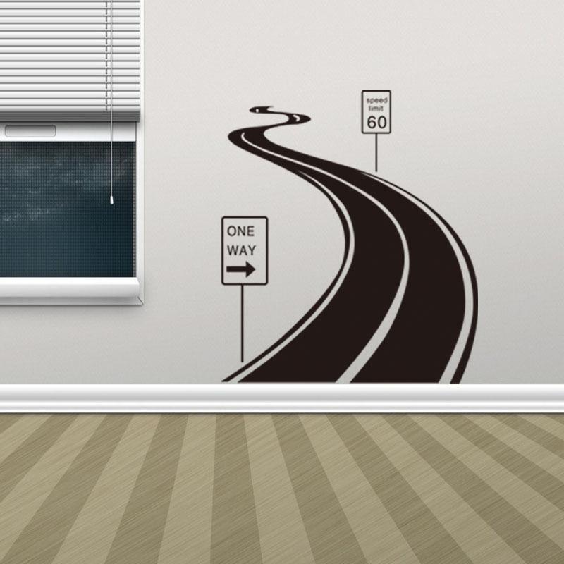 Acheter une route personaized stickers muraux en vinyle pvc paysage stickers muraux creative papier peint pour salon décoration de la maison de 4 03 du