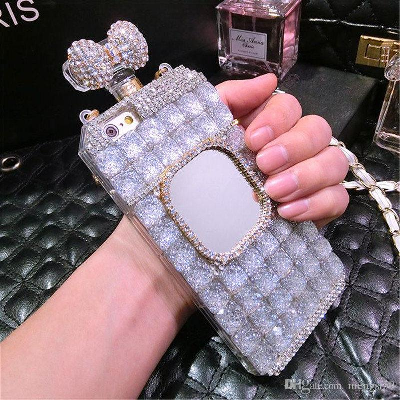 For Samsung galaxy grand prime G530 j3 j5 j7 2016 Luxury Diamond Perfume Bottle Bow Rose Mirror chain case