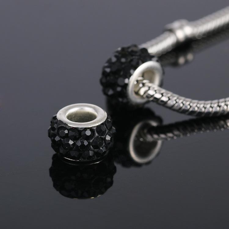 Moda DIY Acessórios Pandora solta pérolas pedra preciosa de cristal grande buraco grânulos europeus para mulheres braceletsNecklaces fazer jóias 9 cores