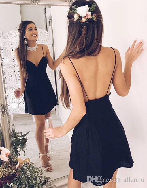 2017 New Sexy Black Homecoming Dresses Simple Backless