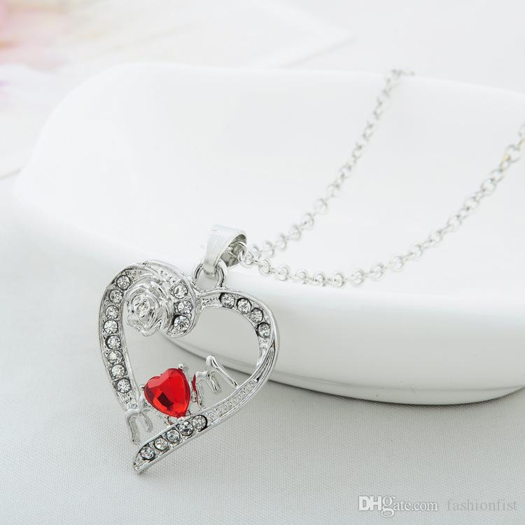New Arrived Silver Color Pretty Rose Flower Crystal Heat Pendant Necklace Jewelry Mother Day Necklace Good Gift