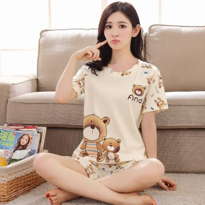 Wholesale- Women Pajamas Sets Summer Short Sleeve Thin Cotton Cartoon Print  Cute Loose Pijamas Mujer Nightgown For Women Sleepwear Girl Womens Pajamas  Set ... 4ee02f510