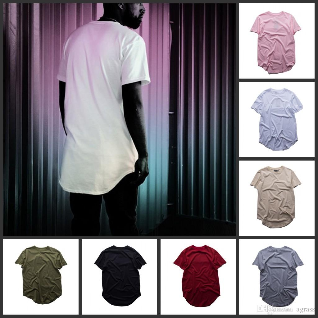 Hot Sell Pure Color T Shirt Wholesale Men Fashion Extended Long T ...