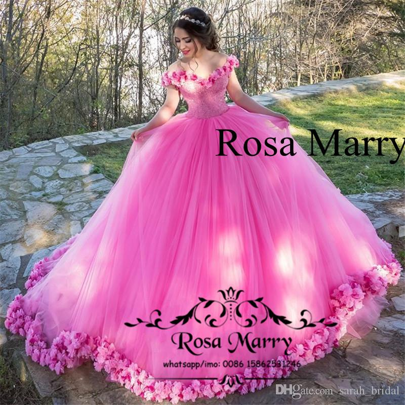 4601149406c Princess Pink 3D Floral Ball Gown Prom Dresses 2018 Off Shoulder Heavy  Beaded Plus Size Puffy Tulle Arabic Dubai Quinceanera Party Gowns White  Formal ...