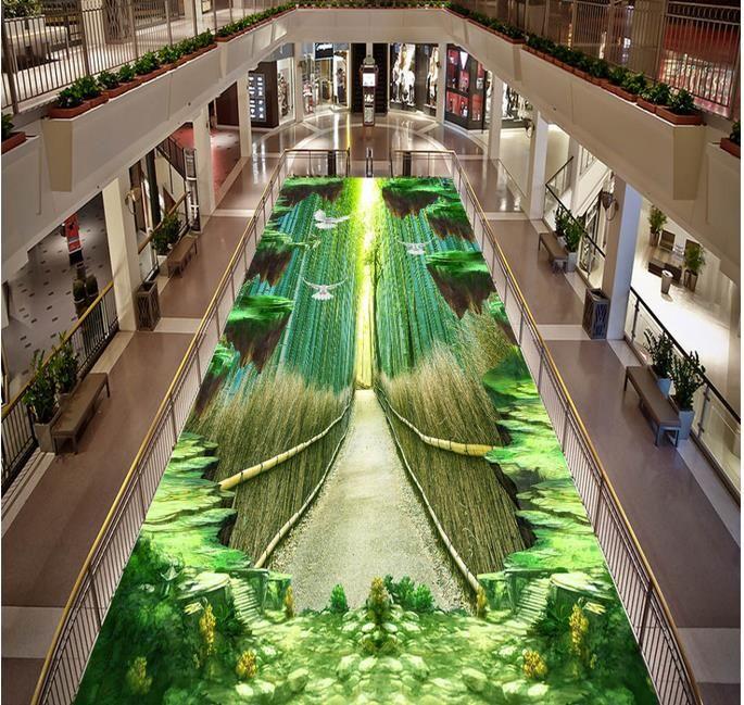 Wasserdichte PVC-Bodenbelag wasserdicht selbstklebende Tapete anpassen HD Bambus Fußweg 3D Boden Malerei