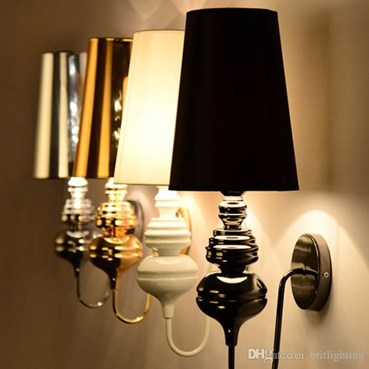 modern golden lampshade wall Sconce bedroom indoor wall lamps E27 European simple lantern elegant bedside wall lights