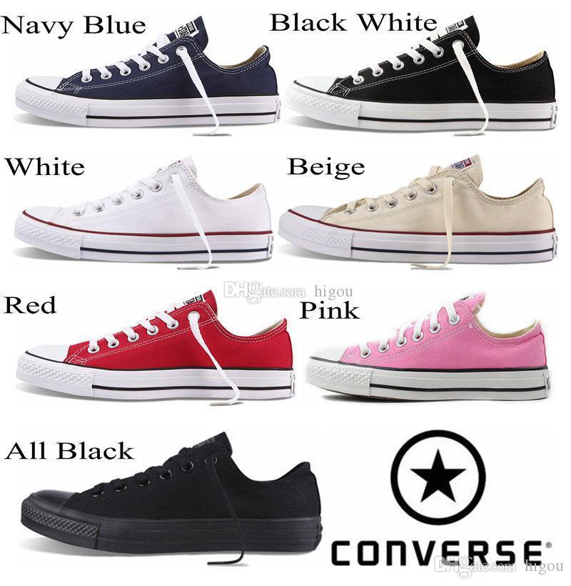 124879bdc Compre 2017 Converse Chuck Tay Lor All Star Zapatos Para Hombres Mujeres  Marca Conversos Zapatillas Casual Baja Superior Classic Negro Blanco Rojo  Monopatín ...
