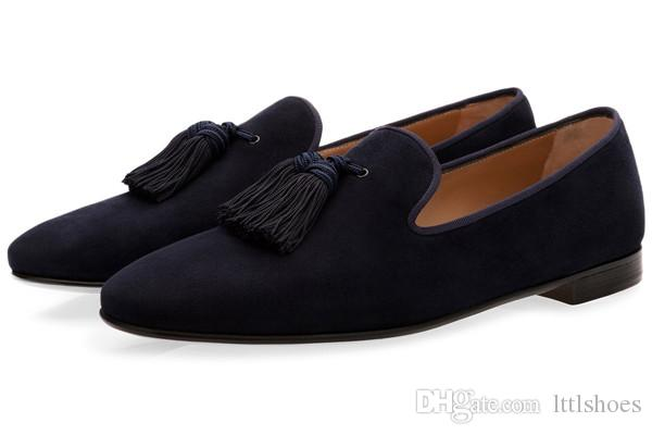 be6eed9107fd7 ... Luxury Suede Slippers Men Tassel Loafers Shoes Velour Smoking Slip-on Men's  Flats Party Wedding ...