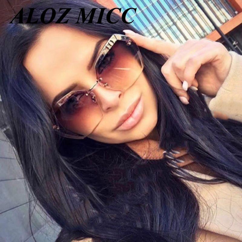 270053258a9 ALOZ MICC Brand Sunglasses For Women Oversized Rimless Frame Designer  Sunglasses For Man Retro Hot Eyeglasses Clear Lens UV400 A048 Cheap  Sunglasses Mens ...