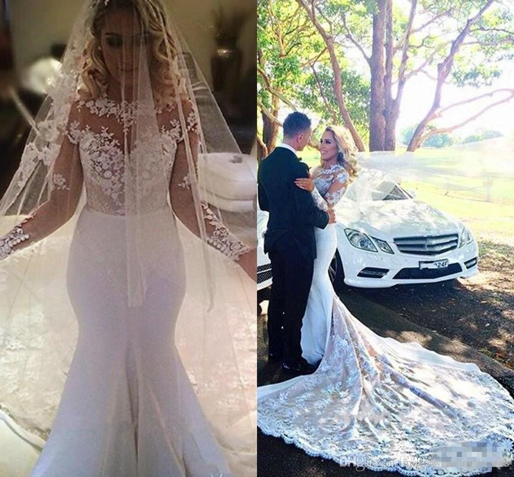 Chapel Train Lace Mermaid Wedding Dresses 2017 Modest Sheer Neck Long Sleevs Vintage Bohemian Country Bridal Gowns With Free Veil