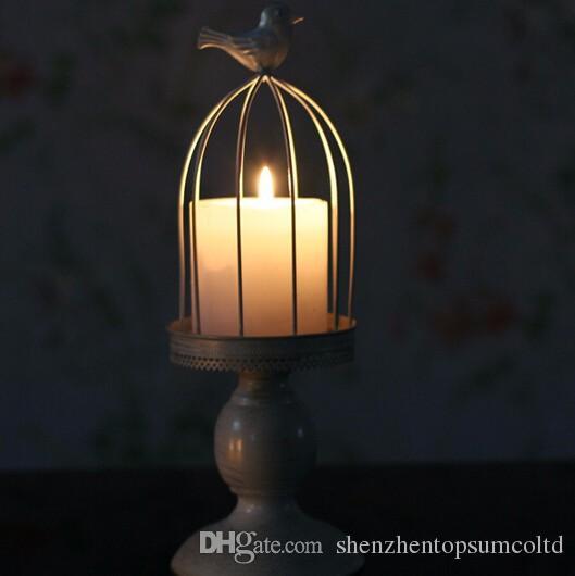 Nowy Projektowy Świecznik Uchwyt Fabryczny Sprzedaż Europa BirdCage Lantern Continental Iron Candle Holders Wedding Home Candlestick Freeship