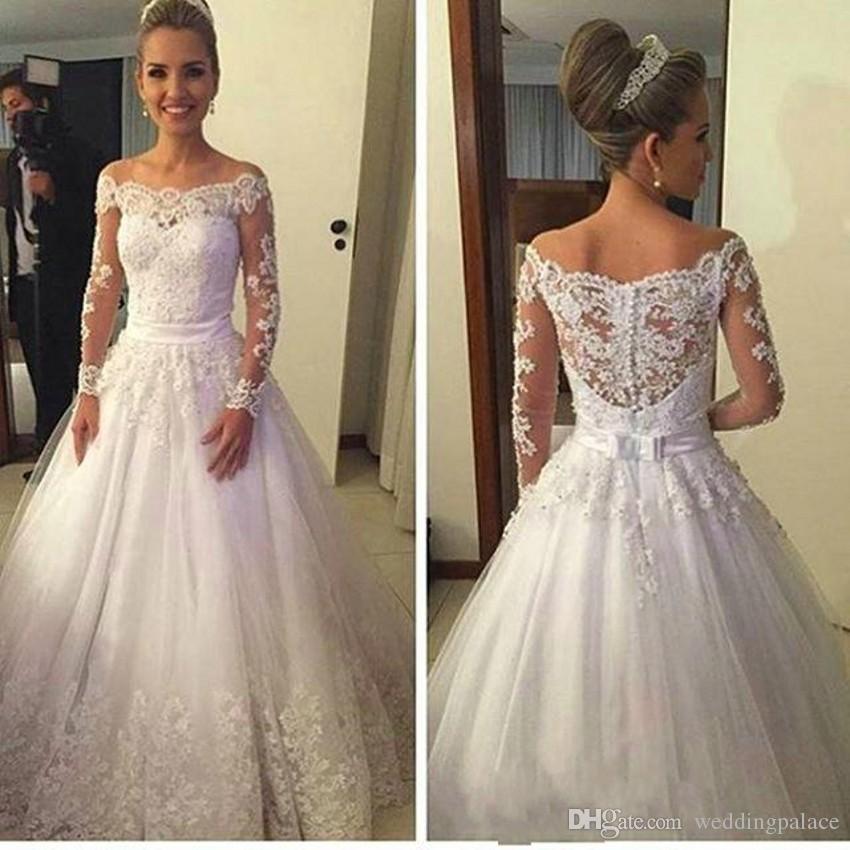 Scoop Neck Long Sleeve Wedding Dresses Appliques Button Back Lace Bridal Wedding Gowns Vestido De Novia