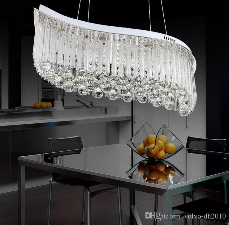 Design ovale Soggiorno Moderno Lampadario di cristallo Design a onde  Lampada a LED Sala da pranzo Home Decor Illuminazione interna LLFA