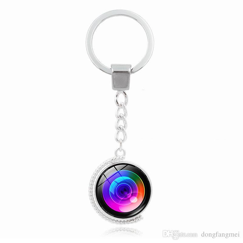 Globe Camera Brand new Rotary Obiettivo Tempo pietra preziosa di portachiavi con il pendente della lega Portachiavi KR167 portachiavi ordine della miscela 20 parti mólto
