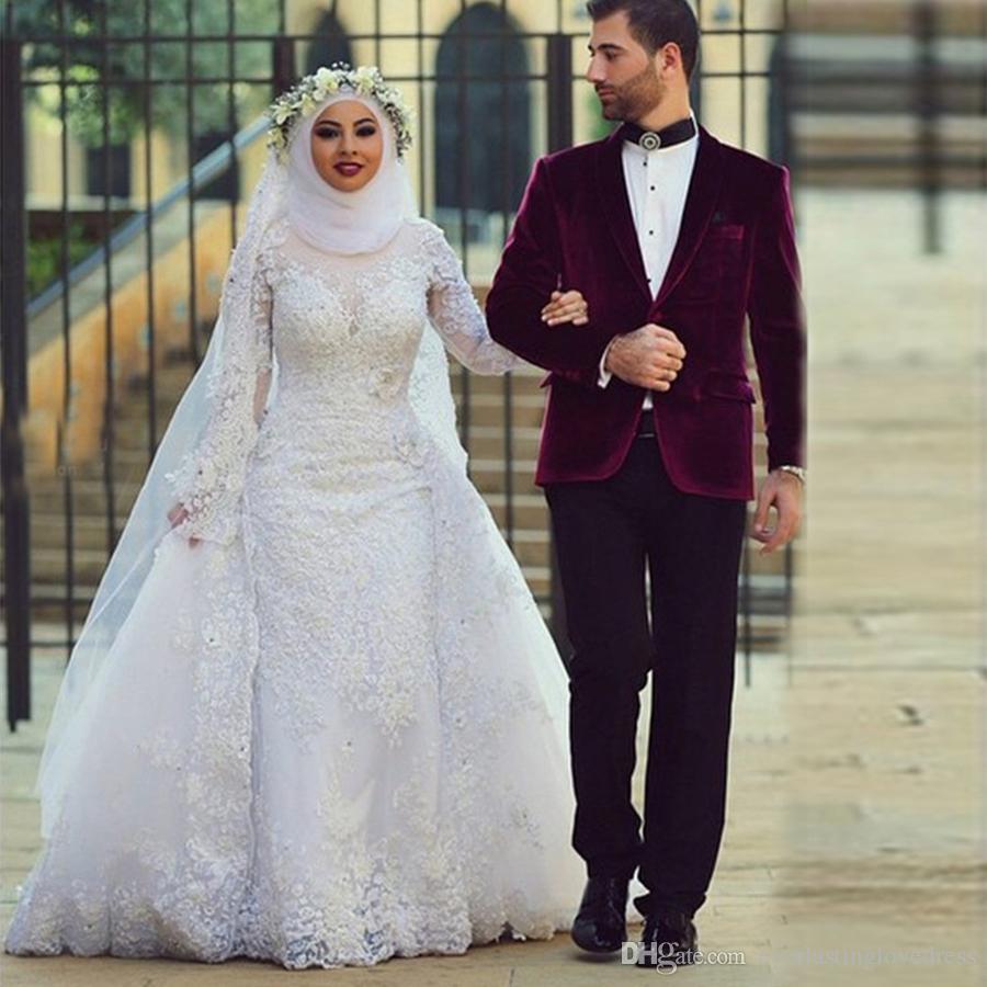 159e7793c70d Saidmhamad High Neck Fully Lace Applique Long Sleeves Muslim Wedding  Dresses With Kerchief Crystals Bridal Dress Vestido De Novia Bridal Wedding  Dresses ...