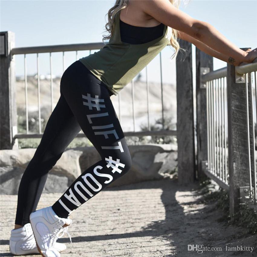 New Fashion 2017 #LIFT# SQUAT Letter Print Women Yoga Pants Gym Sports Leggings Workout Long Trousers Black/Dark Grey/Rose S/Ml/XL