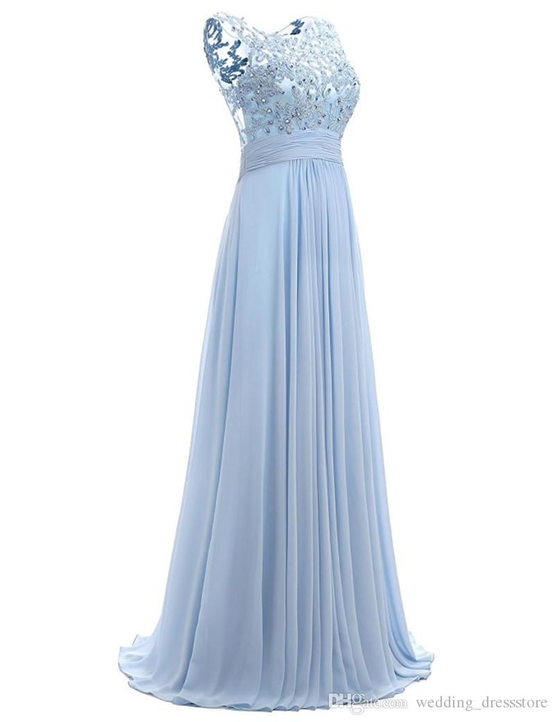 Blue Prom Dress Cap Sleeve 2017 Robe Ceremonie Femme Long Elegant Evening Dresses Floor Length Party Gowns