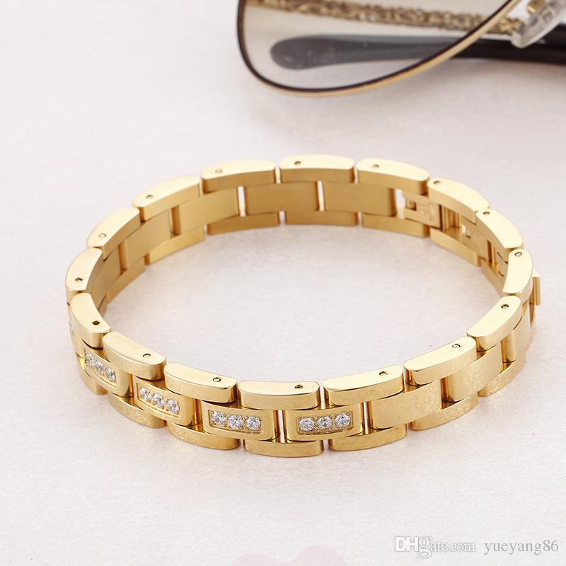 Unisex Charming Gifts 7.87 '' 12mm in acciaio inossidabile di alta qualità bracciale di zirconi cubici donne gioielli cool da uomo in oro