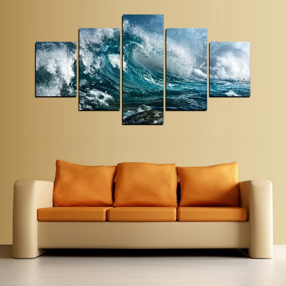 Großhandel 5 Stücke Leinwand Druck Blau Welle Malerei Für Wohnzimmer ...