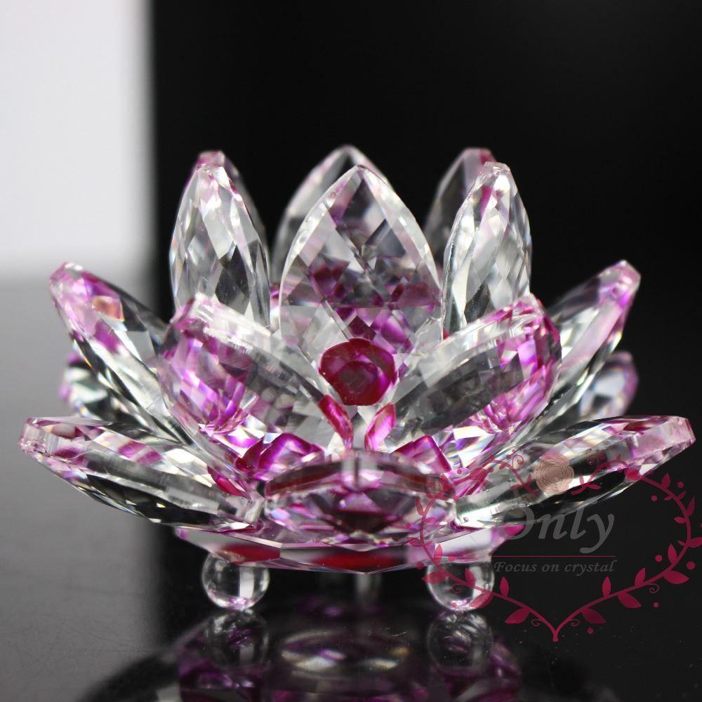 Home Fengshui Wedding Decor Shinning K9 Crystal Lotus Flower Crafts