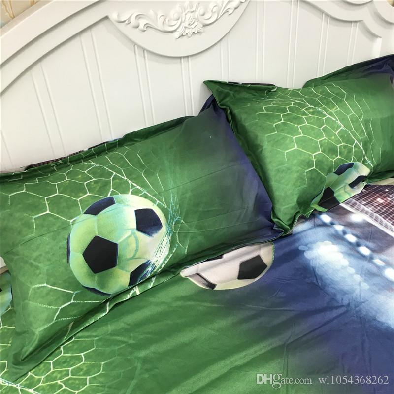 Factory New 3D Soccer Bedding Set Soccer Design Printed Duvet Cover Set Include Bedspread Bed Linens Pillowcase Queen Size