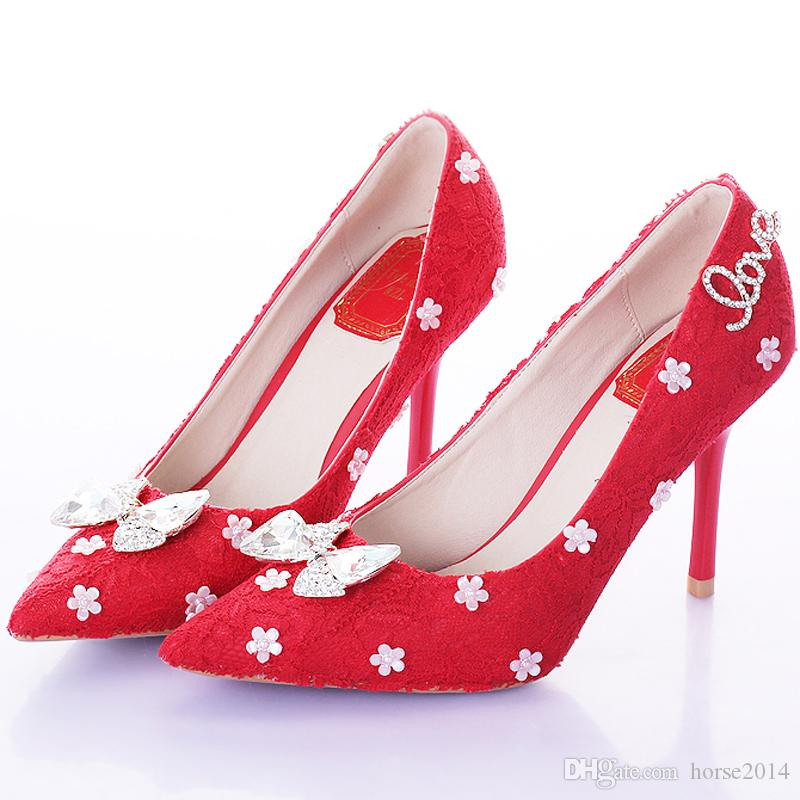 069f64a46b02 Red Lace Pointed Toe Thin Heels Women Pumps Bridal High Heels Party ...