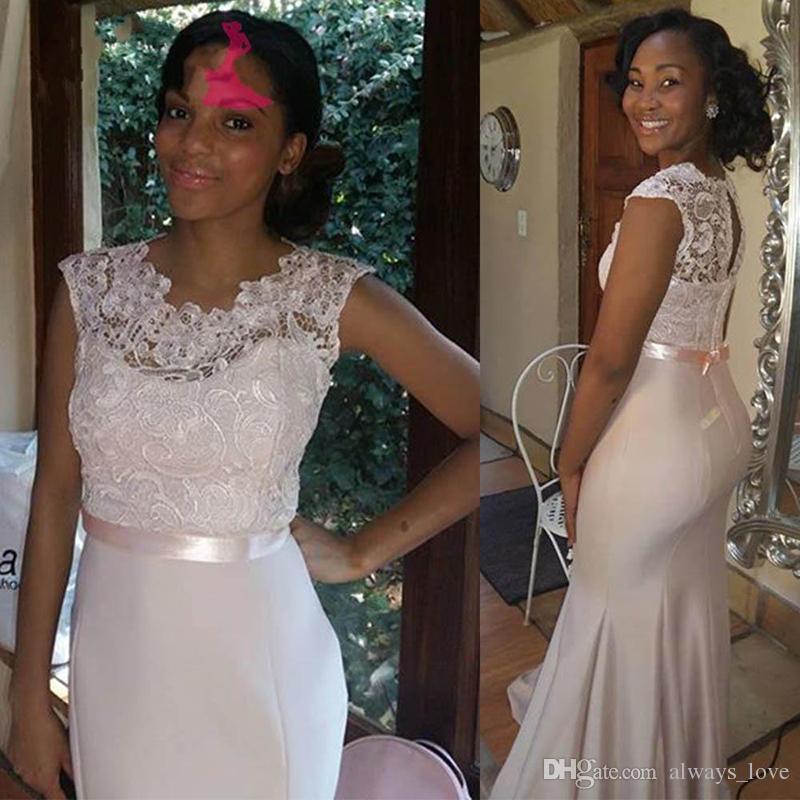 Vestido gris de la dama de honor de la nueva llegada del cordón negro de las muchachas del desgaste de las mujeres vestido formal de la honra del honor para el vestido de noche del baile de fin de curso del vestido de boda